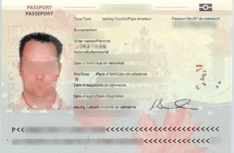 Scanned copy of the Passport