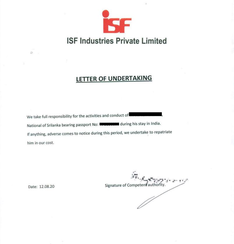 Sample of Undertaking Letter
