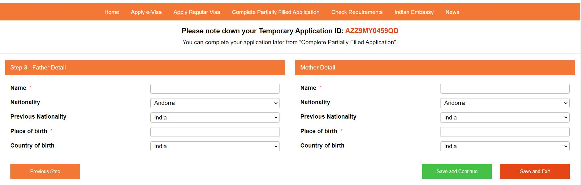 Indian visa form, provide applicant father and mother details